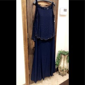 Formal Dress Plus Size 16W Cape Overlay Navy 💥NEW